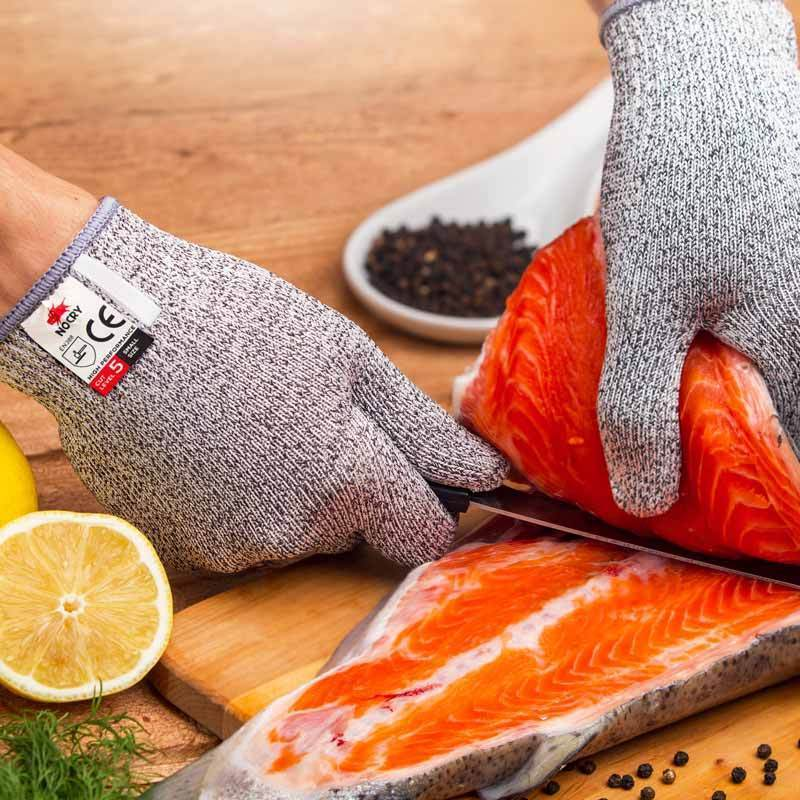 NoCry Cut Resistant Gloves filleting salmon fish